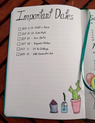 New Bullet Journal - Dates page in Scribbles That Matter notebook https://sonorahillsauthor.com/